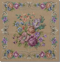 Beverley Trammed Tapestry: Floral Spray with Square Border on Fine Mesh