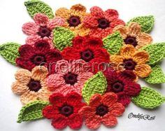 Häkeln Blumen set 12 teilig mit 12 Blättern von OnelifeRosen