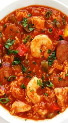 This Jambalaya Soup recipe can be made with shrimp, chicken, Andouille sausage -- or all three! It's easy to make, and so hearty and delicious. Jambalaya Soup, Jambalaya Recipe, Seafood Jambalaya, Seafood Stew, Cajun Cooking, Cooking Recipes, Healthy Recipes, Creole Cooking, Delicious Recipes