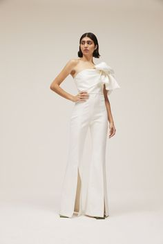 Formal Jumpsuit, Wedding Jumpsuit, White Jumpsuit, One Shoulder Jumpsuit, Designer Jumpsuits, Cocktail Attire, White Bridal, Classy Dress, Winter White