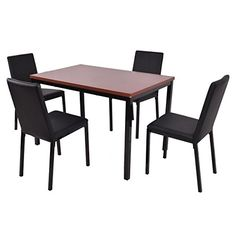Tangkula 5 PCS Dining Table Set 4 PU Leather Chairs Home Kitchen Breakfast Furniture *** You can find more details by visiting the image link.