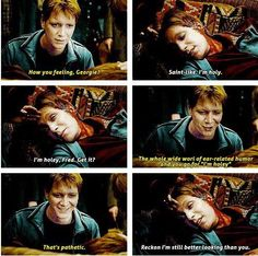 Fred and George scene.... i almost cried at this part but also laughed at the wholy fred part because i LOVE fred and george weasley.