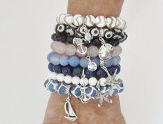 Gemstone Stack Beaded Bracelets charm bracelets by MarciaHDesigns