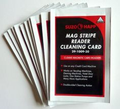 Cleaning Cards for Magnetic Stripe Credit Card Readers Lot/25 by Suzo-Happ. $24.95. Manufacturer recommended Cleaning Cards keep your Credit Card Readers clean and efficient. Just swipe the Cleaning Cards through your magnetic stripe readers to help eliminate dirt build up. Pre-saturated, disposable head cleaning card is designed to safely and effectively remove all dirt, magnetic oxides and other contaminants from all types of concealed magnetic heads, photo an...