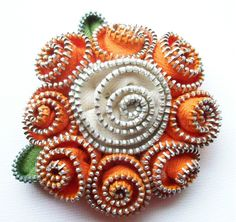 Items similar to Orange and Creamy White Spiral Floral Brooch / Zipper Pin by ZipPinning - 2770 on Etsy Zipper Flowers, Zipper Crafts, Creamy White, Spiral, Hand Sewing, Brooch, Orange, Repurpose, Felting