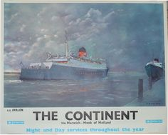 Poster British Rail 'The Continent - Via Harwich - Hook of Holland' by S.A. Walker .16