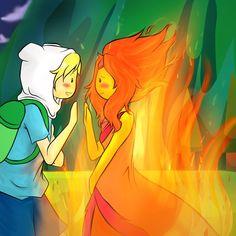 Adventure Time Finn and Flame Princess - yaassss ship them Flame Princess And Finn, Adventure Time Flame Princess, Watch Adventure Time, Adventure Time Anime, Fin And Jake, Jake The Dogs, Famous Cartoons, Cool Cartoons, Disney Cartoons