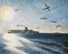 """""""HMS Glorious in the Arctic"""" by Eric Ravilious, 1940. HMS Glorious was sunk with her escorting destroyers HMS Acasta and Ardent on 8 June 1940. As the three ships sank so quickly, there were very few survivors and over 1,500 men died."""