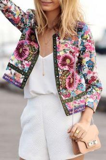 Jewel Neck Colorful Floral Print Coat