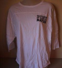 """PINK Victoria's Secret """"Pink Nation"""" White Boyfriend Jersey Medium (M) NEW  #VictoriasSecret #GraphicTee"""