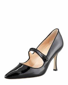 X1R54 Manolo Blahnik Campari Patent Leather Mary Jane, Black