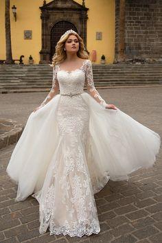 ace48ab64 2019 sirena tul mangas largas vestidos de novia con apliques y perlas  barrer el tren desmontable US  339.00 VTOPJ7J38ET