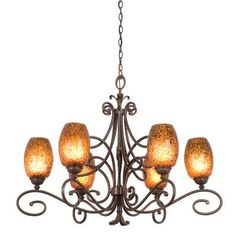 Kalco Amelie 6 Light Shaded Chandelier Finish: Antique Copper, Shade Type: Small Fading-edge Taupe