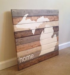 Michigan Home Large Wood Wall Art by MittenMadeDesigns on Etsy https://www.etsy.com/listing/201369927/michigan-home-large-wood-wall-art