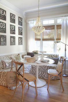 Zebra banquette / design by Milk & Honey Home.