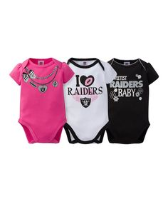 Take a look at this Oakland Raiders Pink Short-Sleeve Bodysuit Set today! 93abe6c7d