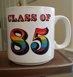 COLLECTIBLE PAPEL COFFEE MUG CLASS OF 85 COLORFUL NUMBERS MADE IN THE USA VTG #PAPEL