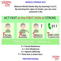 "Although we are National Day Calendar ""World Stroke Day"" is one of those Days we do not wish to overlook drawing to attention. So Don't Wait - Learn how to recognize the symptoms of a Stroke F. World Stroke Day, Wacky Holidays, National Day Calendar, National Days, Learn Faster, One Of Those Days, Family Guy, Facts, Learning"