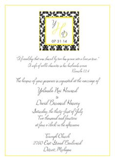 Damask? Yes, Please! design from The Plume Collection ready-to-order wedding/event invitations.