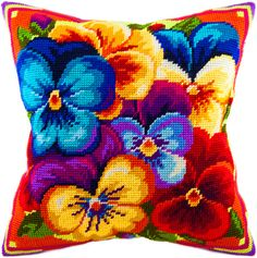 Violets pillowcase cross stitch DIY embroidery kit, needlework, needlepoint