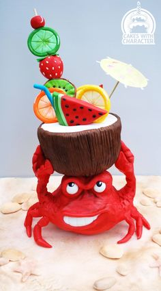 Lobster Cake by Jean A Rettmer Schapowal >Cakes With Character Lobster Cake, Pool Cake, Gravity Defying Cake, Sea Cakes, Ice Cream Candy, Sculpted Cakes, Candy Cakes, Summer Cakes, Cakes For Women