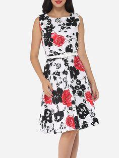 #AdoreWe #FashionMia Skater Dresses - FashionMia Round Neck Blended Floral Printed Skater Dress - AdoreWe.com