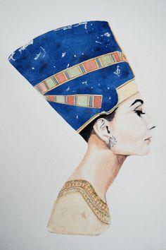 "Saatchi Online Artist: Ashley Haigh; Watercolor, 2012, Painting ""Nefertiti at Tiffanys"""
