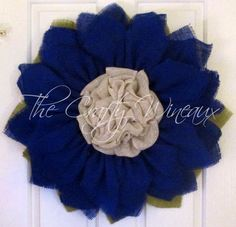 Royal Blue Flower Burlap Wreath, Sunflower, Spring Wreath, Summer Wreath, Customizable Wreath - pinned by pin4etsy.com