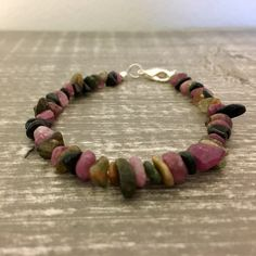 Watermelon Tourmaline Chip Bracelet by JLynnVCreations on Etsy https://www.etsy.com/listing/492937718/watermelon-tourmaline-chip-bracelet