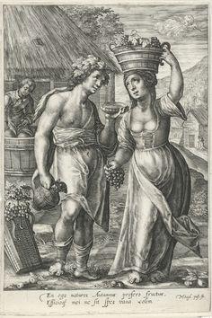 Magdalena van de Passe | Herfst, Magdalena van de Passe, Crispijn van de Passe (I), Crispijn van de Passe (I), 1617 - 1634 | Landschap met een paar tijdens de druivenoogst.  De vrouw draagt een mand met druiven op haar hoofd en de man houdt een schaal en een kruik vast. Op de achtergrond een jongeman die druiven perst. In de marge een tweeregelig onderschrift in het Latijn.
