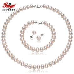 59.8$  Buy here - Feige Genuine 10-11mm White Natural Freshwater Pearl Jewelry Sets For Women's 925 Sterling Silver Pearl Earrings Fine Jewelry   #aliexpress