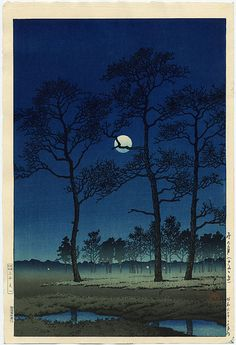 Kawase Hasui -  Winter Moon over Toyama Plain