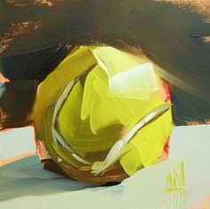 Sporting events - Tennis Ball no. 3 original still life sport lover oil painting by Moulton 4 x 4 inches on panel prattcreekart Code And Theory, Tennis World, Still Life Oil Painting, Art Drawings For Kids, Tennis Tips, Painting Inspiration, Be Still, The Originals, Sports