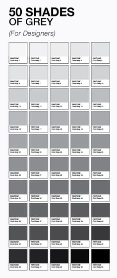 50 shades of grey (for designers) by pantone Funny Grey paint gray color and grey - Gray Things Grey Colour Chart, Colour Schemes, Gray Color, Color Charts, Colour Wheel, Pantone Color Chart, Gray Paint Colors, Ral Color Chart, Pantone Colours