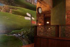 Mural detail and faux finished walls for Logan's Irish Pub, Findlay, Ohio. By Beth Covert