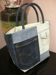 Upcycled denim tote