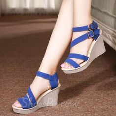 Shoespie Solid Color Buckle Wedge Sandals