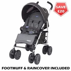 Chicco Multiway Evo Stroller (Black) •Features single hand multi-position recline for the backrest •Adjustable footrest •Lockable front swivel wheels, linked rear brakes and all round suspension •Extra large folding hood with viewing window. Hood gives UV50+ sun factor protection •Fabrics feature reflective detailing for safety at night •Compact when closed and includes carry handle on the side •Raincover and footmuff included