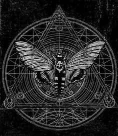 Beautiful geometric Death's Head moth design--hunting for the artist