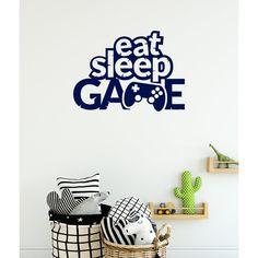 Eat Sleep Game Gaming Wall Sticker Boys Wall Stickers, Wall Stickers Quotes, Wall Decals, Personalized Wall Art, Eat Sleep, Game Controller, Colours, Display, Interior