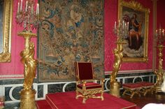 A view of the Throne Room at Versailles. King On Throne, Throne Room, Palace Garden, Palace Of Versailles, Travel Tours, Louis Xvi, Marie Antoinette, View Image, 18th Century