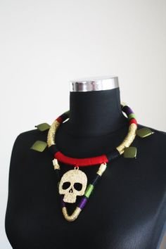 Dead Man's Party, Skull Necklace, Rope Necklace, Wrapped Necklace, Gold, Red, Black, Green, Purple