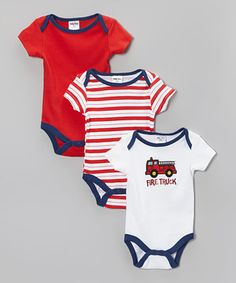 Look what I found on #zulily! Red & White Bodysuit Set - Infant by Teeny Tots #zulilyfinds