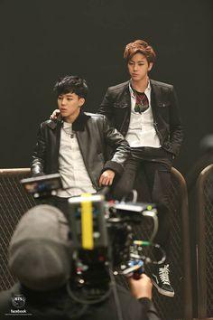 Jimin & Jin during Boy In Luv's MV shooting