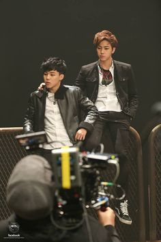 Jimin & Jin during Boy In Luv's MV shooting
