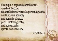 """Non solo non è facile, ma spesso il tenere il controllo diviene difficile per non dire impossibile. Quindi ... pensiamo bene quando dicidiamo di arrabbiarci :)  """"Chiunque è capace di arrabbiarsi: questo è facile; ma arrabbiarsi verso la persona giusta, nella misura giusta, nel momento giusto, per il motivo giusto, nel modo giusto, questo non è facile."""" Aristotele    #aristotele, #rabbia, #arrabbiarsi, #classici, #saggezza, #italiano,"""