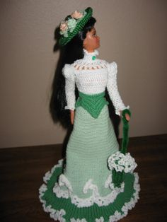 Crocheted Barbie Doll Clothes period dress by SusieCsShop on Etsy, $80.00