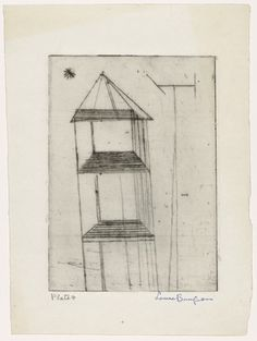 Louise Bourgeois. Untitled, plate 4, first version, only state, from He Disappeared into Complete Silence. (1946-1947)