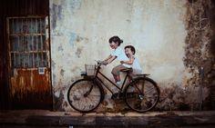Graffiti interativo nas ruas da Malásia