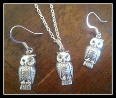 Pretty antiqued silver owl charms (hollow backs) on 18'' silver plated necklace chain and high quality silver plated earwires for a pretty necklace and earring set. Size: 22x9mm (Including ring/loop)Color: Antique SilverMaterial: Silver plated brass*These metal charms are Lead
